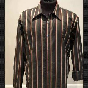 Ted Baker Mens Sz 5 Brown stripe button-down shirt